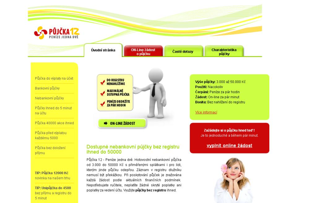 Půjčka12.cz - nebankovní půjčky bez registru