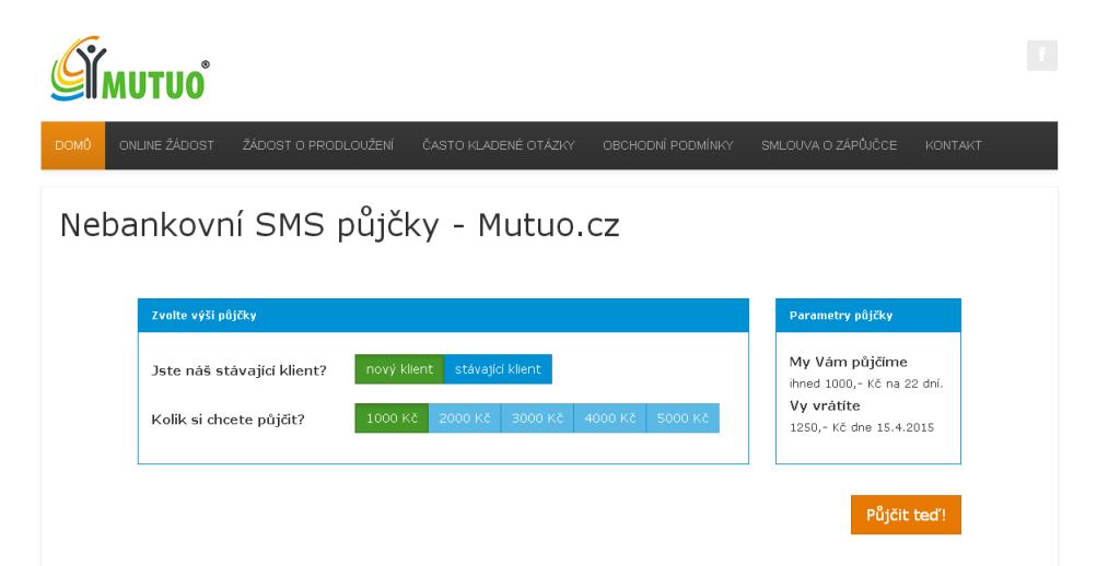 SMS půjčka Mutuo - rychlá půjčka