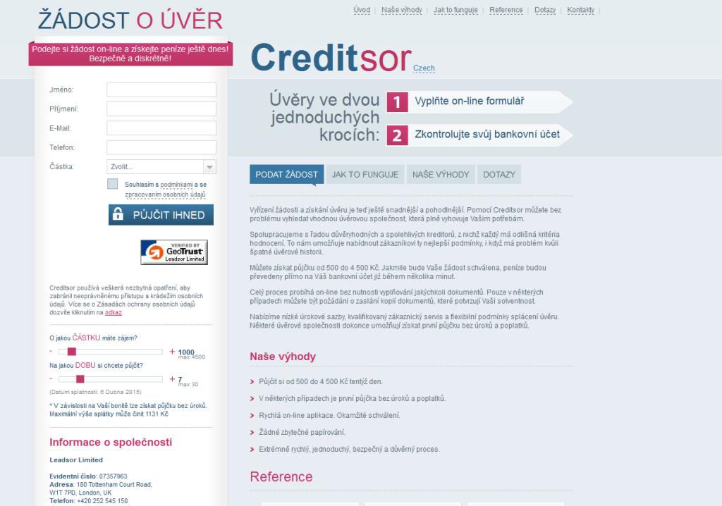 Půjčka Creditsor je typickým příkladem nebankovní půjčky